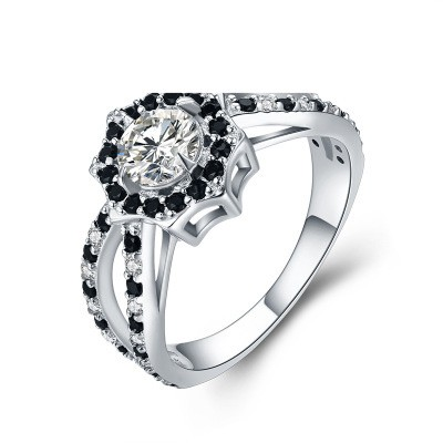Tinnivi Fashion Halo Created White Sapphire Sterling Silver Engagement Ring