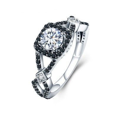 Tinnivi Halo Created White Sapphire Sterling Silver Engagement Ring