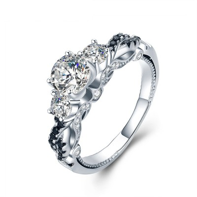 Tinnivi Elegant Three Stone Created White Sapphire Sterling Silver Engagement Ring