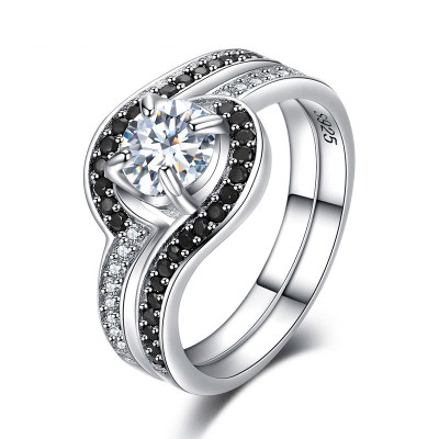 Tinnivi Fashion Sterling Silver Halo Created White Sapphire Engagement Ring