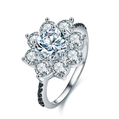 Tinnivi Flower Design Created White Sapphire Sterling Silver Engagement Ring