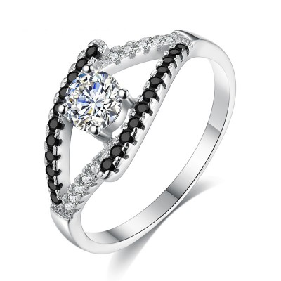 Tinnivi Delicate Created White Sapphire Sterling Silver Engagement Ring