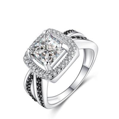 Tinnivi Sterling Silver Halo Princess Cut Created White Sapphire Engagement Ring