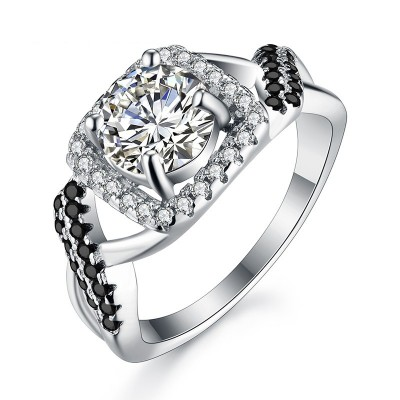 Tinnivi Twist Halo Created White Sapphire Sterling Silver Engagement Ring