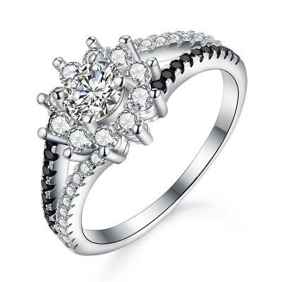 Tinnivi Stylish Flower Created White Sapphire Sterling Silver Engagement Ring