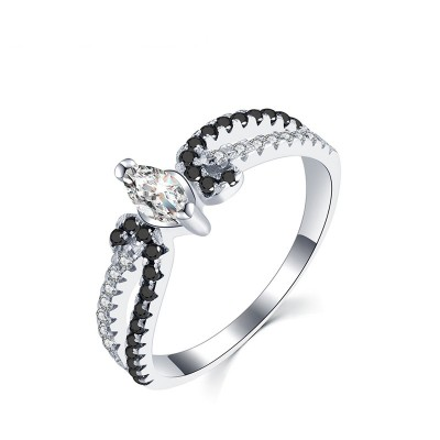 Tinnivi Stylish Marquise Cut Created White Sapphire Sterling Silver Ring