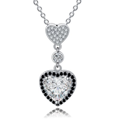 Tinnivi Halo Heart Cut Created White Sapphire Sterling Silver Pendant Necklace