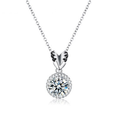 Tinnivi Elegant Halo Round Cut Created White Sapphire Sterling Silver Pendant Necklace
