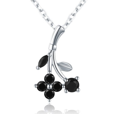 Tinnivi Fashion Flower Design Created Black Diamond Sterling Silver Pendant Necklace