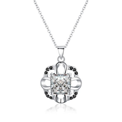 Tinnivi Delicate Princess Cut Created White Sapphire Sterling Silver Pendant Necklace