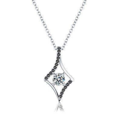 Tinnivi Stylish Hollow Out Created White Sapphire Sterling Silver Pendant Necklace