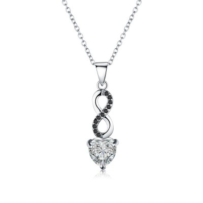 Tinnivi Infinity Heart Created White Sapphire Sterling Silver Pendant Necklace