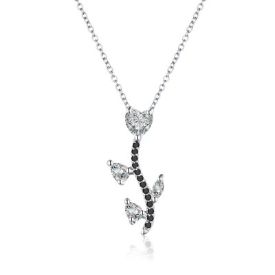 Tinnivi Stylish Heart Cut Created White Sapphire Sterling Silver Pendant Necklace