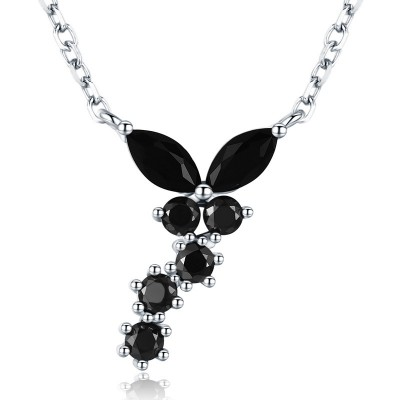 Tinnivi Stylish Created Black Diamond Sterling Silver Pendant Necklace