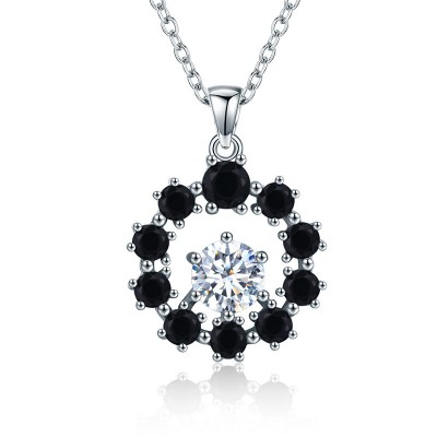 Tinnivi Halo Hollow Out Created White Sapphire Sterling Silver Pendant Necklace