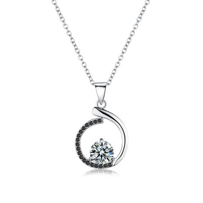 Tinnivi Stylish Sterling Silver Hollow Out Created White Sapphire Pendant Necklace
