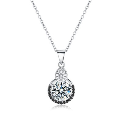 Tinnivi Flower Halo Created White Sapphire Sterling Silver Pendant Necklace