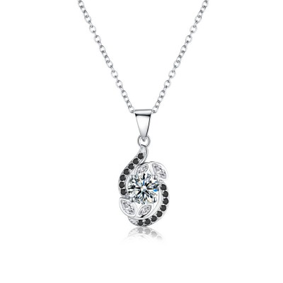 Tinnivi Stylish Leaf Created White Sapphire Sterling Silver Pendant Necklace