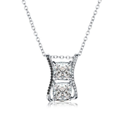 Tinnivi Stylish Cushion Cut Created White Sapphire Sterling Silver Pendant Necklace