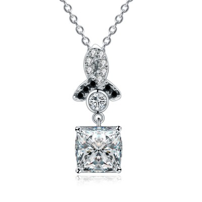 Tinnivi Gorgeous Princess Cut Created White Sapphire Sterling Silver Pendant Necklace