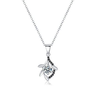 Tinnivi Sterling Silver Leaf Created White Sapphire Pendant Necklace