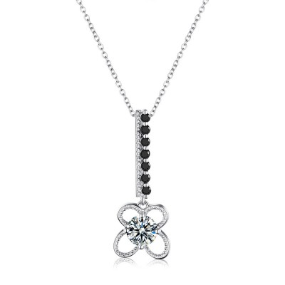 Tinnivi Delicate Created White Sapphire Sterling Silver Pendant Necklace