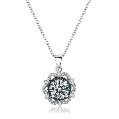 Tinnivi Halo Sun Flower Created White Sapphire Sterling Silver Pendant Necklace