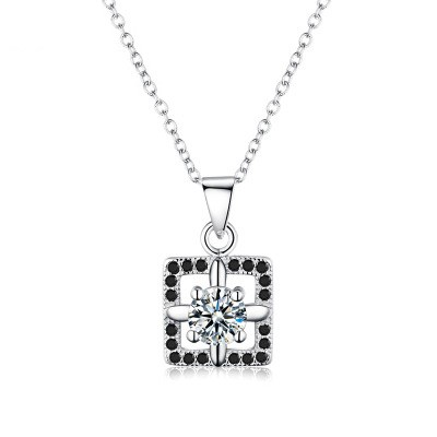 Tinnivi Square Halo Created White Sapphire Sterling Silver Pendant Necklace