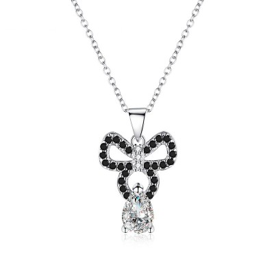 Tinnivi Bowknot Pear Cut Created White Sapphire Sterling Silver Pendant Necklace