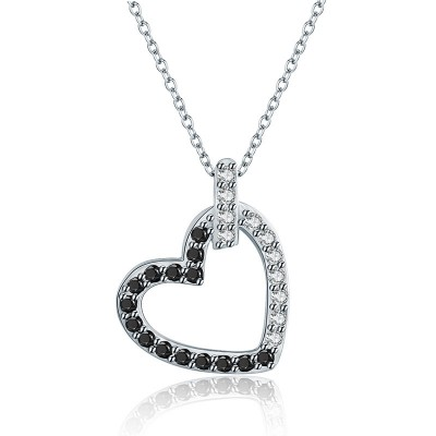 Tinnivi Hollow Out Heart Sterling Silver Pendant Necklace
