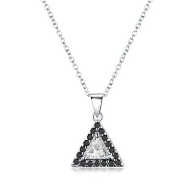 Tinnivi Halo Triangle Created White Sapphire Sterling Silver Pendant Necklace