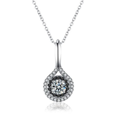 Tinnivi Double Halo Created White Sapphire Sterling Silver Pendant Necklace