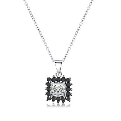 Tinnivi Halo Princess Cut Created White Sapphire Sterling Silver Pendant Necklace