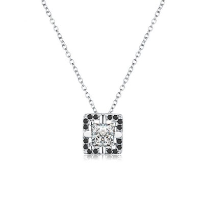 Tinnivi Elegant Halo Princess Cut Created White Sapphire Sterling Silver Pendant Necklace