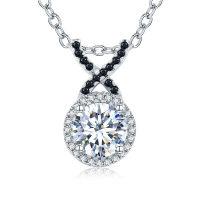 Tinnivi Gorgeous Halo Created White Sapphire Sterling Silver Pendant Necklace