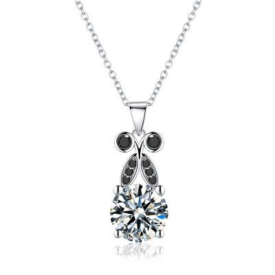 Tinnivi Delicate Leaf Created White Sapphire Sterling Silver Pendant Necklace