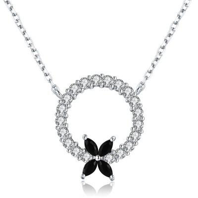 Tinnivi Four Leaf Clover With Circle Sterling Silver Pendant Necklace
