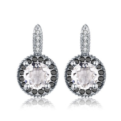 Tinnivi Halo Round Cut Created White Sapphire Sterling Silver Stud Earrings