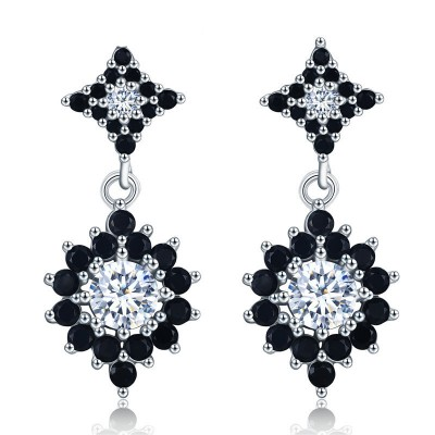 Tinnivi Gorgeous Halo Created White Sapphire Sterling Silver Dangle Earrings