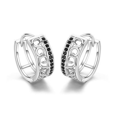 Tinnivi Simple Hollow Out Sterling Silver Hoop Earrings