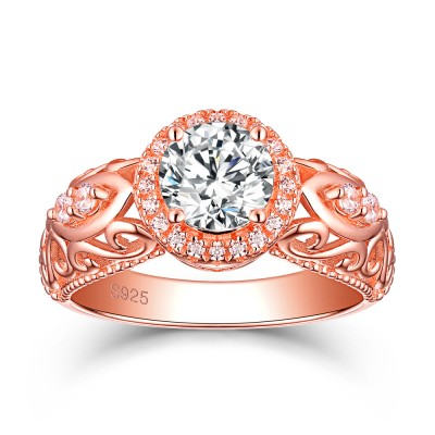 Tinnivi Rose Gold Plated Sterling Silver Halo Round Cut Created White Sapphire Engagement Ring