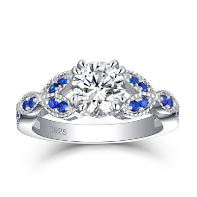 Tinnivi Sterling Silver Created Sapphire Side Stone Round Cut Created White Sapphire Engagement Ring