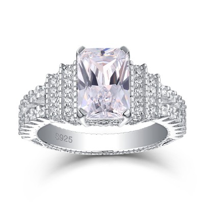 Tinnivi Elegant Emerald Cut Created White Sapphire Sterling Silver Engagement Ring