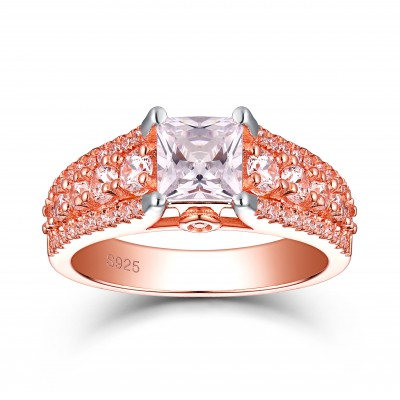 Tinnivi Rose Gold Plated Sterling Silver Princess Cut Created White Sapphire Engagement Ring