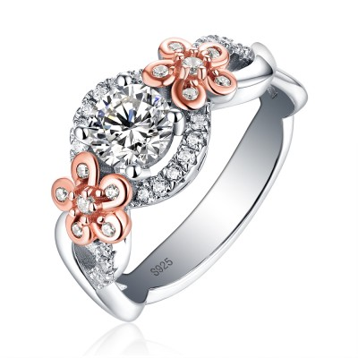 Tinnivi Elegant Flower Design Halo Round Cut Created White Sapphire Engagement Ring