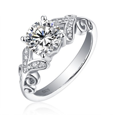 Tinnivi Elegant Vine Design Round Cut Created White Sapphire Sterling Silver Engagement Ring