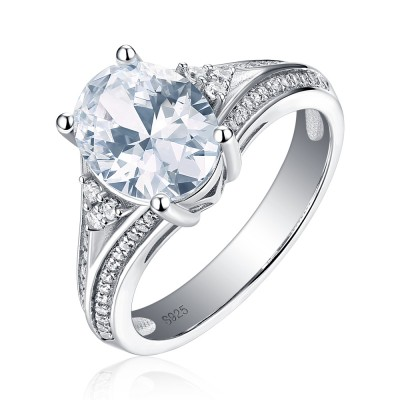 Tinnivi Gorgeous Oval Cut Created White Sapphire Sterling Silver Engagement Ring