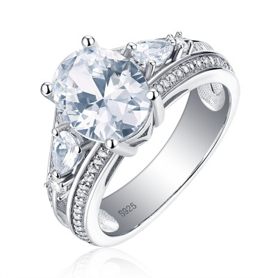 Tinnivi Three Stone Oval Cut Created White Sapphire Sterling Silver Engagement Ring