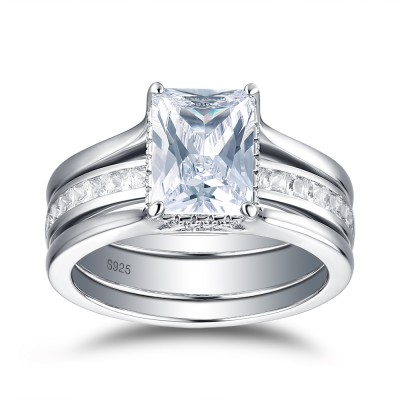 Tinnivi Stylish Emerald Cut Created White Sapphire Sterling Silver Wedding Set