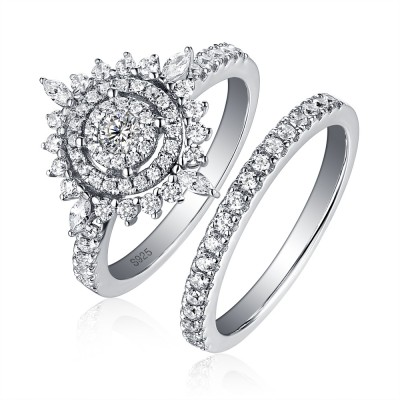 Tinnivi Stylish Sun Design Double Halo Round Cut Created White Sapphire Wedding Set